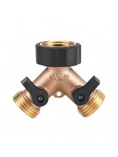 Thread 3/4 Y Shape 2 Way Heavy Duty Brass Garden Hose Connector Tap Splitter Hose Adapter Gooseneck Water Tap Garden Hose Shut Off Valve Connector for Lawn And Garden(American Standard 3/4)