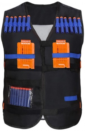 Yosoo Kids Elite Tactical Vest with 20 Pcs Soft Foam Darts for Nerf Gun N-strike Elite Series (2 Clips Not Included)