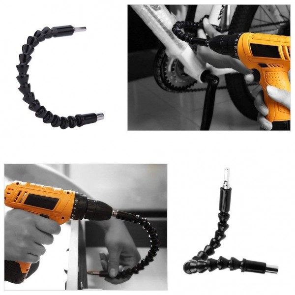1//4 Hex Shaft Magnetic Extention Screw 9.9 and 11.8 Power Drill Connection Tip for Hand Ratchet Screwdriver for Multi-angle Work 7.9 QLNE 3PCS Flexible Extension Drill Shaft Bits